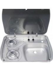 Вградена мивка в комбинация 2 горелки и  стъклен капак